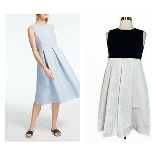 S' Max Mara Women's Black Navy/White ALine Pleated Sleeveless Dress with Pockets